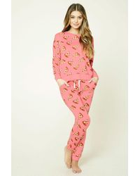 Forever 21 | Pink Pizza Print Pj Pants | Lyst