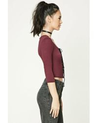 Forever 21 - Black Lace-up Grommet Crop Top - Lyst