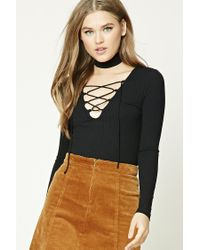 Forever 21 | Black Ribbed Knit Lace-up Top | Lyst