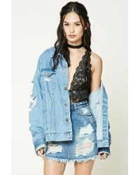 Forever 21 - Blue Distressed Denim Mini Skirt - Lyst