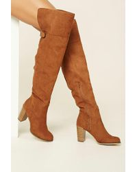 Forever 21 | Brown Over-the-knee Faux Suede Boots | Lyst