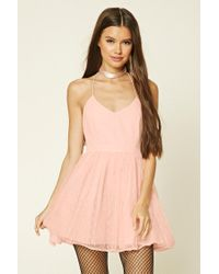 Forever 21 | Pink Scoop-back Polka Dot Dress | Lyst