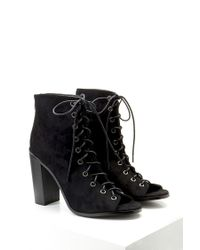 Forever 21 | Black Lace-up Faux Suede Booties | Lyst