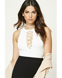 Forever 21 | White Plunging Lace-up Crop Top | Lyst