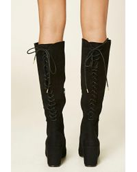Forever 21 - Black Faux Suede Tall Lace-up Boots - Lyst