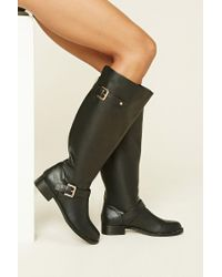 Forever 21 | Black Tall Faux Leather Boots | Lyst