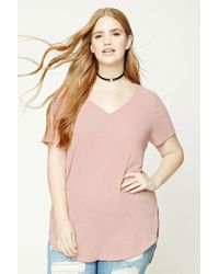 Forever 21 | Pink Plus Size Ribbed V-neck Top | Lyst