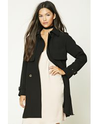 Forever 21 | Black Belted Trench Coat | Lyst