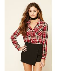 Forever 21 | Red Snap-button Plaid Shirt | Lyst