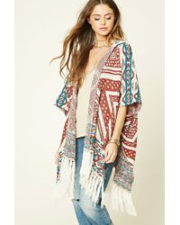 Forever 21 | Multicolor Fringed Geo-patterned Poncho | Lyst