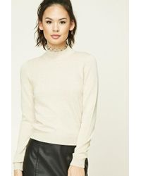 Forever 21 | Natural Mock Neck Sweater | Lyst