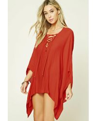 Forever 21 | Red Lace-up Cover-up Kaftan | Lyst