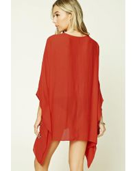 Forever 21 - Red Lace-up Cover-up Kaftan - Lyst