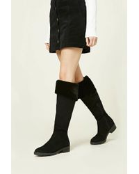 Forever 21 | Black Faux Suede Fold-over Boots | Lyst