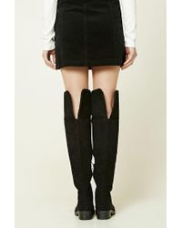 FOREVER21 - Black Faux Suede Fold-over Boots - Lyst