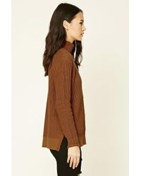 Forever 21 - Brown Ribbed Turtleneck Sweater - Lyst