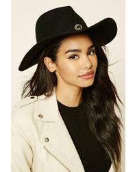 Forever 21 | Black Faux Leather Band Fedora | Lyst