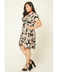 Forever 21 - Black Plus Size Floral Wrap Dress - Lyst