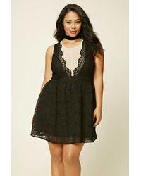 2d606bec69 Lyst - Forever 21 Plus Size Crochet Lace Dress in Black