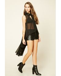 Forever 21 | Black Tie-neck High-low Blouse | Lyst
