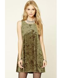 7a4792995056 Forever 21 Crushed Velvet Swing Dress in Green - Lyst