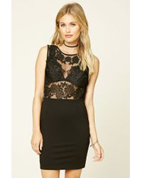Forever 21 | Black Contemporary Floral Lace Dress | Lyst
