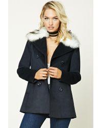 Forever 21 | Blue Faux Fur Collar Coat | Lyst
