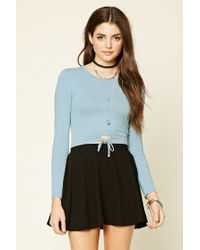 Forever 21 | Blue Circle Tie-waist Cutout Top | Lyst