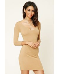 Forever 21 | Natural V-neck Bodycon Dress | Lyst