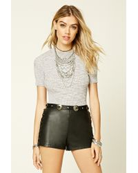 Forever 21 | Natural Marled Ribbed Knit Top | Lyst