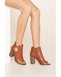 Forever 21 | Brown Buckle Cutout Booties | Lyst