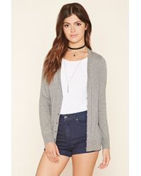 Forever 21 | Gray Cotton-blend Cardigan | Lyst