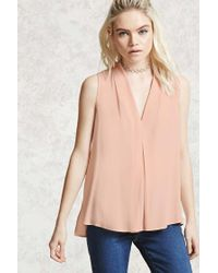 Forever 21 | Pink Pleated Crepe Top | Lyst