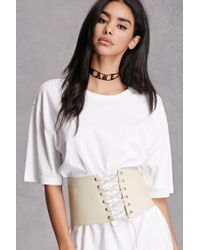 6d8884874d7 Lyst - Forever 21 Lambskin Lace-up Corset in White