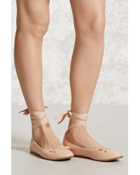 Forever 21 | Multicolor Lace-up Ballet Flats | Lyst