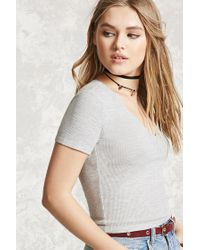 Forever 21 | Gray V-neck Crop Top | Lyst