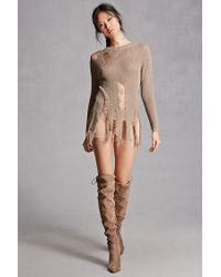 Forever 21 - Brown Distressed Raw-cut Sweater - Lyst