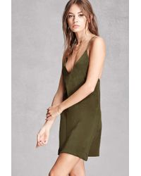Forever 21 Women S Green Stry Satin Slip Dress