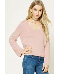 Forever 21 | Pink V-neck Ribbed Sweater | Lyst
