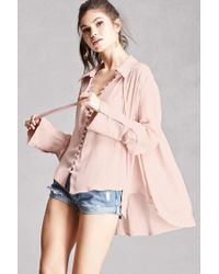 Forever 21 | Pink Satin Buttoned High-low Top | Lyst