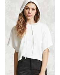 Forever 21 | White Dolman-sleeve Cropped Hoodie | Lyst