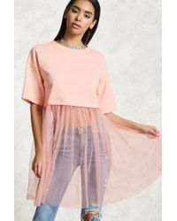 Forever 21 | Pink Combo Mesh Tunic | Lyst