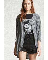 Forever 21 | Gray Striped Fleece Cocoon Cardigan | Lyst