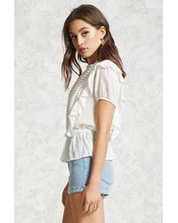 Forever 21 - Multicolor Pintuck Bib Ruffle Blouse - Lyst