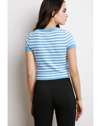 Forever 21 - Blue Striped Sweater Tee - Lyst