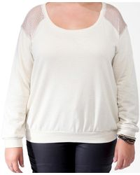 Forever 21 - Natural Plus Size Metallic Ribbon Yoke Pullover - Lyst