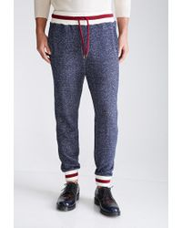 Forever 21 - Blue Marled Varsity Stripe Sweatpants for Men - Lyst