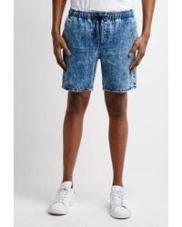 Forever 21 - Blue Acid Wash Denim Shorts for Men - Lyst