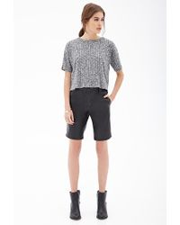Forever 21 - Black Faux Leather Bermuda Shorts - Lyst