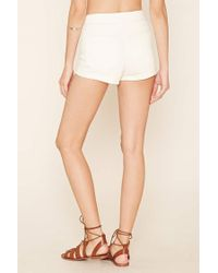 Forever 21 | White Cuffed Denim Shorts | Lyst